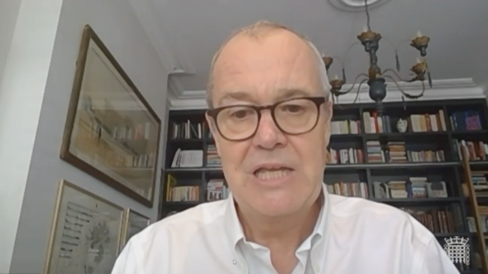 Sir Patrick Vallance appearing before the health and social care committee on Tuesday. (Parliamentlive.tv)
