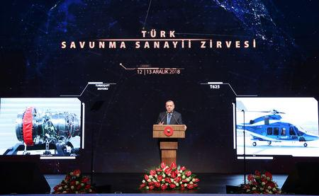 Turkish President Erdogan speaks during the Turkish Defense Industry Summit in Ankara