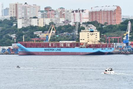 FILE PHOTO: The Venta Maersk in the Russian port of Vladivostok as it prepares to set off on its Arctic voyage