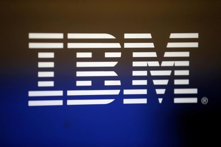 FILE PHOTO: The logo of Dow Jones Industrial Average stock market index listed company IBM (IBM) is seen in Los Angeles