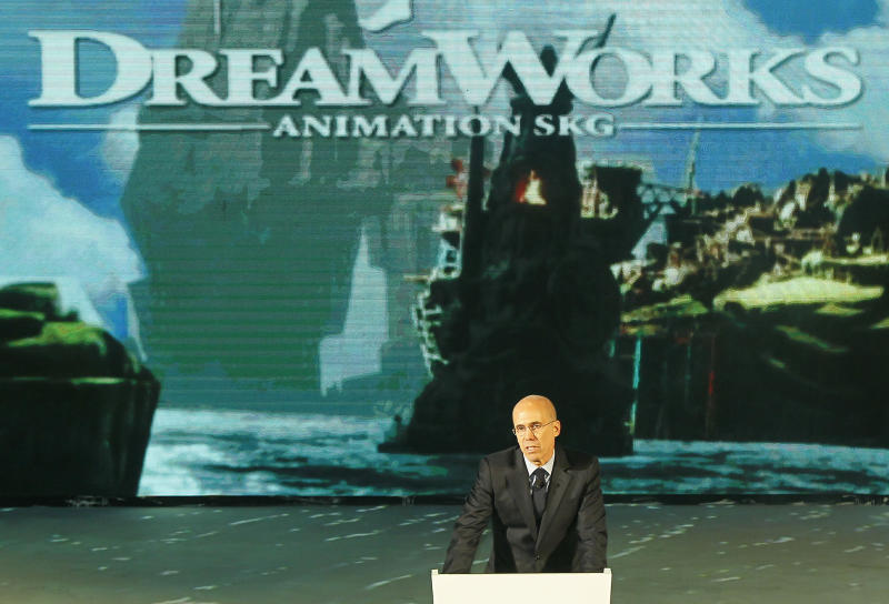 Jeffrey Katzenberg, CEO of DreamWorks Animation, speaks at the kick-off ceremony of Shanghai DreamCenter on Thursday March 20, 2014 in Shanghai, China. DreamWorks Animation and Chinese partners unveiled designs on Thursday for a 15 billion yuan ($2.4 billion) entertainment complex in Shanghai, expanding Hollywood's growing ties with China.(AP Photo)