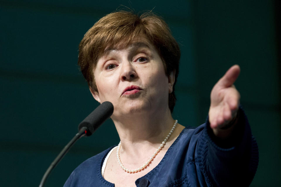 FILE - In this April 18, 2018, file photo, the World Bank CEO Kristalina Georgieva speaks at the World Bank/IMF annual spring meeting in Washington. Georgieva, a top official at the World Bank, was chosen by the IMF's executive board on Wednesday to become the IMF's managing director. She succeeds Christine Lagarde who is stepping down to take over as head of the European Central Bank. (AP Photo/Jose Luis Magana, File)