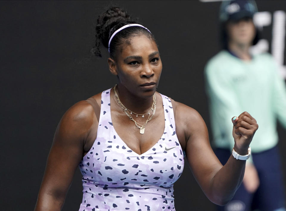 United States' Serena Williams reacts after winning a point against Russia's Anastasia Potapova during their first round singles match at the Australian Open tennis championship in Melbourne, Australia, Monday, Jan. 20, 2020. (AP Photo/Lee Jin-man)