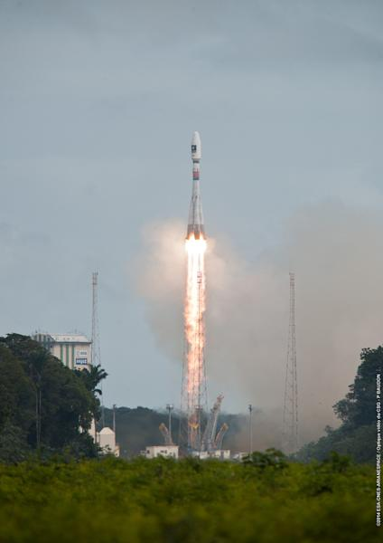 A Russian-built Soyuz rocket launches Europe's first two operational Galileo navigation system satellites into space from Guiana Space Center in Kourou, French Guiana, on Aug. 22, 2014. The satellites were ultimately left in the wrong orbit, pr