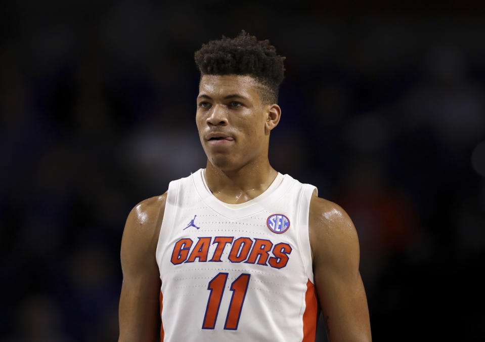 Florida forward Keyontae Johnson (11) on the court against Marshall during the first half of an NCAA college basketball game Friday, Nov. 29, 2019, in Gainesville, Fla. (AP Photo/Matt Stamey)