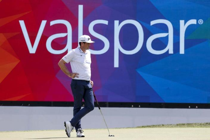 Keegan Bradley watches the green at the 18th hole during the PGA Valspar Championship golf tournament in Palm Harbor, Fla., Friday, April 30, 2021. (Ivy Ceballo/Tampa Bay Times via AP)