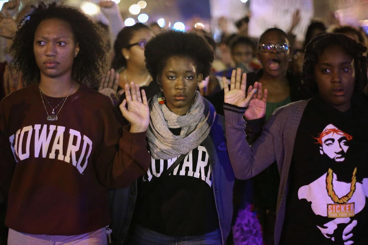 A grand jury's decision not to indict Darren Wilson in Michael Brown's death sparked nationwide demonstrations, including this one at Howard University in Washington, D.C., on Nov. 24, 2014. (Photo: Chip Somodevilla via Getty Images)