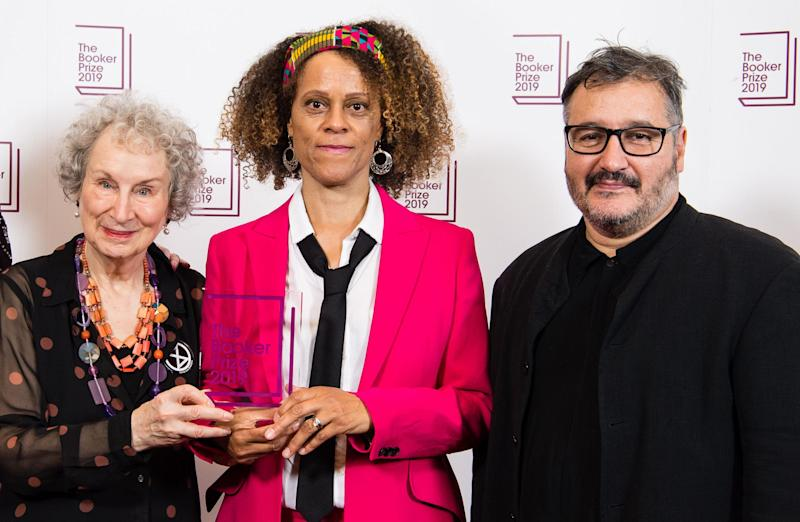 (L-R) Margaret Atwood, Bernardine Evaristo and Peter Florence (Chair of Judges): Getty Images