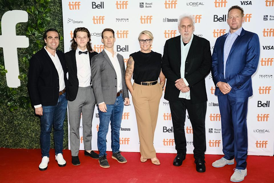 TORONTO, ONTARIO - SEPTEMBER 12: (L-R) Andrew Corkin, Colton Gobbo, Chris Sparling, Alex Lalonde, Phillip Noyce, and Zack Schiller attend the