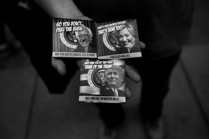 """<p>A vendor sells """"political condoms"""" at the Republican National Convention in Cleveland. (Photo: Khue Bui for Yahoo News)</p>"""