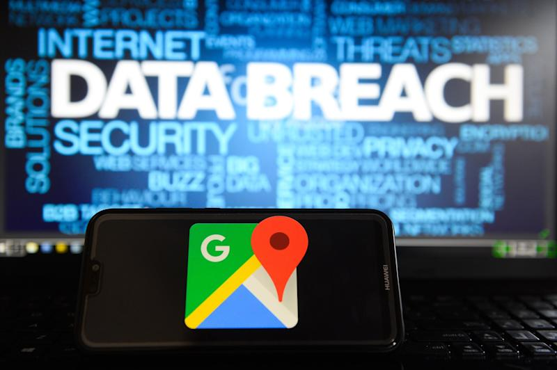 Google Maps logo is seen on a Huawei smart phone with the word Data breach on a laptop monitor. (Photo by Omar Marques/SOPA Images/SOPA Images/LightRocket via Getty Images)