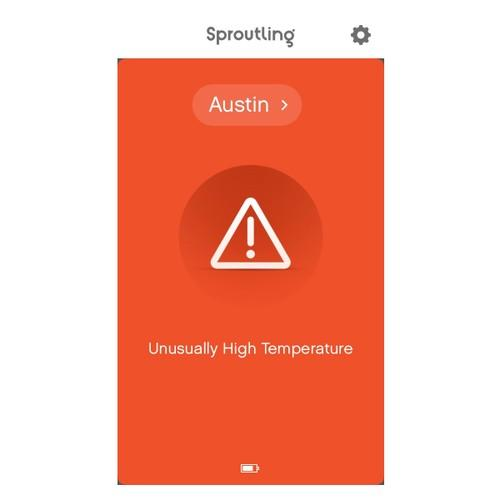 Sproutling screenshot reading 'Austin: Unusually high temperature'