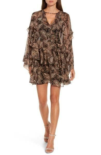 "A ruffle mini dress is perfect for a fall wedding but can easily be thrown over some leggings or skinny jeans for a more casual look. Get it at <a href=""http://shop.nordstrom.com/s/chelsea28-ruffle-layer-minidress/4622110?origin=category-personalizedsort&fashioncolor=BLACK%20STRIPED%20PAISLEY"" target=""_blank"">Nordstrom for $89</a>."