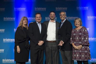 Members of Brightway's Executive Team presented the awards during the company's annual awards celebration held Thursday, Jan. 23, at the Hilton Bonnet Creek in Orlando, Florida. Photographed (L to R) VP of Customer Experience Kris Azar, Agency Owner Billy Wagner, Agent Chris Huebener, Chief Financial Officer Bob Taylor and Chief of Staff Leslie Kolleda.