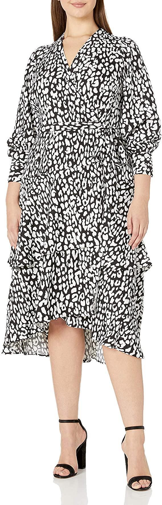 "<br><br><strong>Calvin Klein</strong> Plus Size Long Sleeve Tiered Wrap Dress, $, available at <a href=""https://amzn.to/2ZBejkp"" rel=""nofollow noopener"" target=""_blank"" data-ylk=""slk:Amazon"" class=""link rapid-noclick-resp"">Amazon</a>"