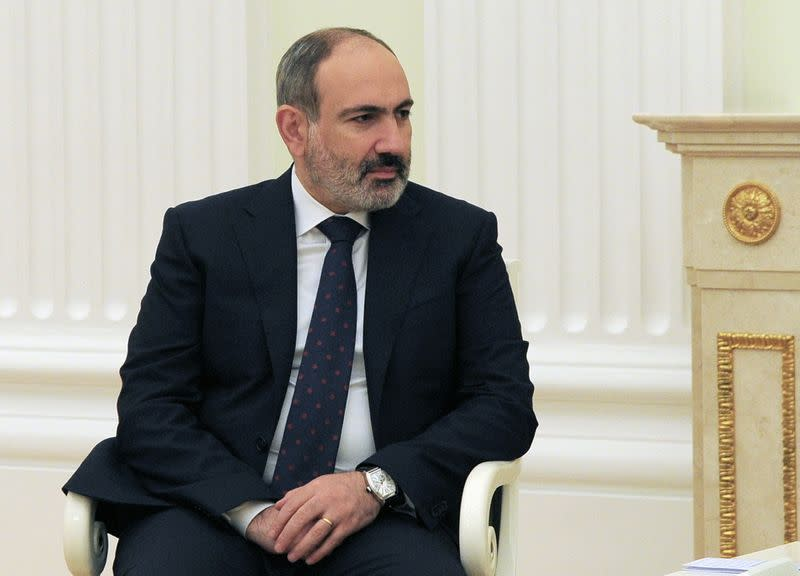 FILE PHOTO: Armenian Prime Minister Pashinyan attends a meeting with Russian President Putin in Moscow