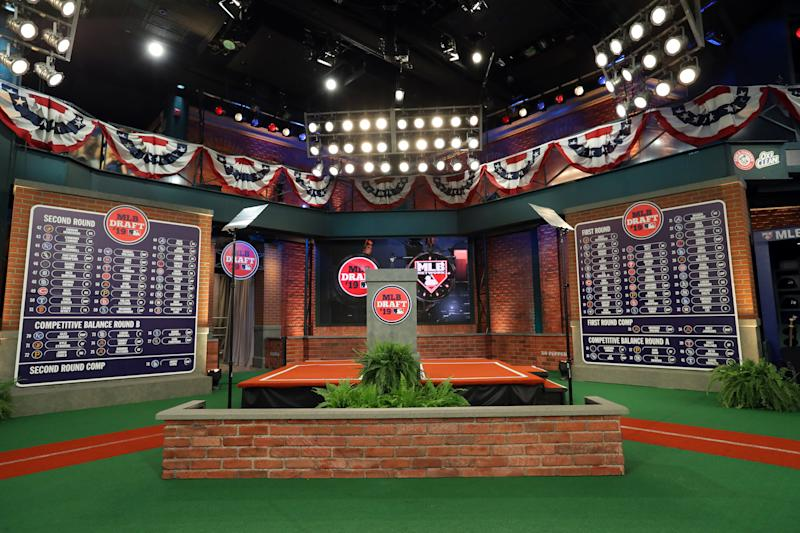 SECAUCUS, NJ - JUNE 03: A general view of the completed first and second round draft boards during the 2019 Major League Baseball Draft at Studio 42 at the MLB Network on Monday, June 3, 2019 in Secaucus, New Jersey. (Photo by Alex Trautwig/MLB via Getty Images)