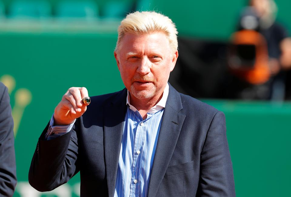 Tennis - ATP - Monte Carlo Masters - Monte-Carlo Country Club, Monte Carlo, Monaco - April 19, 2018   Boris Becker is awarded with the international tennis hall of fame ring to honour his career   REUTERS/Eric Gaillard
