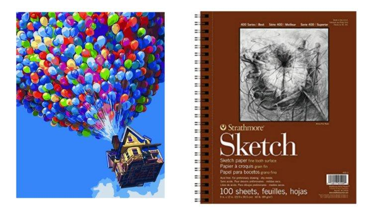 sketch book and paint by numbers