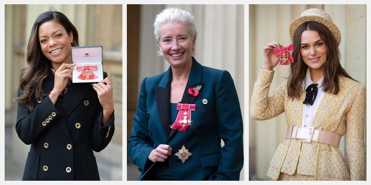 <p>From OBE's to full-on knighthoods, the royal family has plenty of honors they can bestow upon accomplished individuals. And often, Prince Charles, Prince William, and Queen Elizabeth (among other royals) will appoint a beloved celebrity a special title. Here, we've rounded up a list of famous people with royal honors.</p>