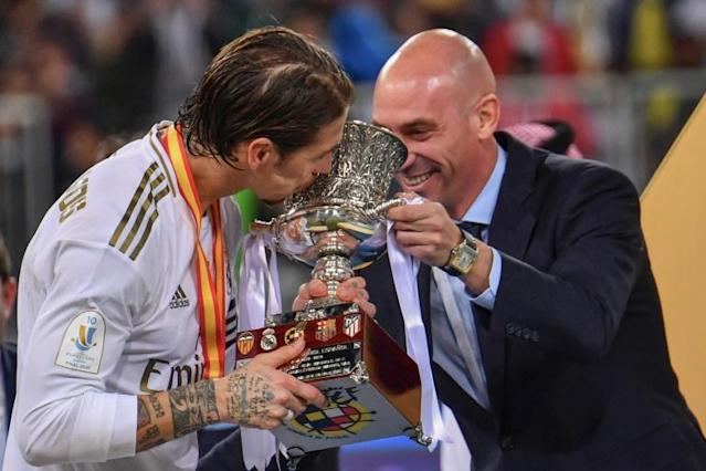 Sergio Ramos' winning penalty kept up coach Zinedine Zidane's perfect record in finals (AFP Photo/Giuseppe CACACE)