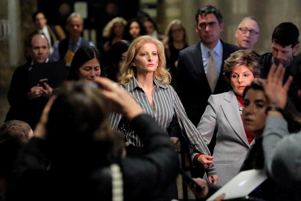 "<span class=""s1"">Summer Zervos, a former contestant on ""The Apprentice,"" leaves New York State Supreme Court with attorney Gloria Allred last December after a hearing on her libel suit against President Trump. (Photo: Andrew Kelly/Reuters)</span>"