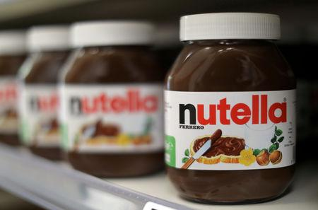 FILE PHOTO: Jars of Nutella chocolate-hazelnut paste are displayed in a Casino supermarket in Nice