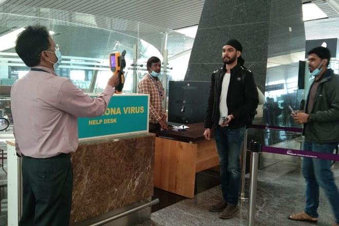 Help Desk and signage at Bengaluru International Airport (Image: Ministry of Health/ Twitter)