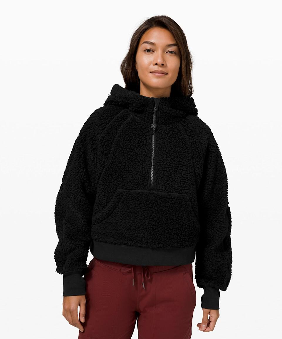 <p>It's still cold out, so bundle up in this <span>Lululemon Scuba Oversized Sherpa 1/2 Zip</span> ($79, originally $168).</p>