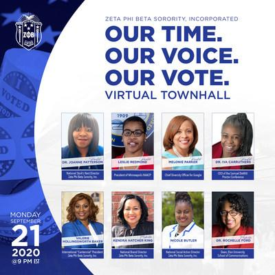 Zeta Phi Beta Sorority, Incorporated, a 100-year-old women's service organization, will host a virtual townhall on Monday, Sept. 21 at 9 p.m. EST. The registration is free and open to the public.