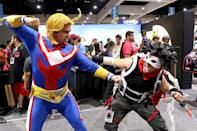 <p>Cosplayers dressed as anime characters All Might and Stain at Comic-Con International on July 20 in San Diego. (Photo: Angela Kim/Yahoo Entertainment) </p>