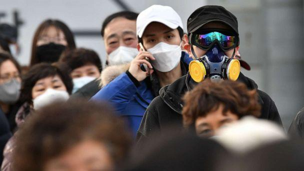 PHOTO: A man wears a mask and goggles as he waits in line to buy face masks from a post office in Daegu, South Korea, Feb. 27, 2020. (Jung Yeon-Je/AFP/Getty Images)