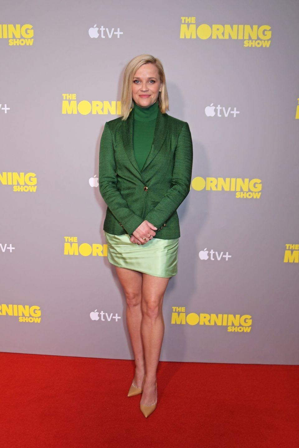 <p>We love the contrast of these two shades of green Reese wore to a special screening of <em>The Morning Show</em>.</p>