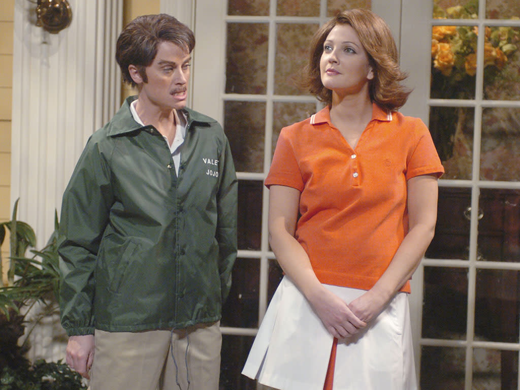 "SATURDAY NIGHT LIVE -- Episode 12 -- Aired 02/20/2007 -- Pictured: (l-r) Amy Poehler as Jo-Jo, Drew Barrymore as Ashley during ""Jo-Jo the Valet"" skit on February 20, 2007  (Photo by Dana Edelson/NBC/NBCU Photo Bank via Getty Images)"