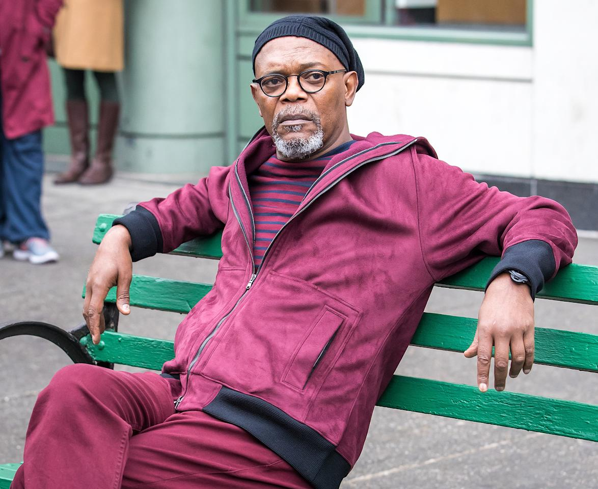 <p>Samuel L. Jackson takes a break from filming scenes for the upcoming movie, <em>Life Itself</em>, on Monday in New York City.</p>