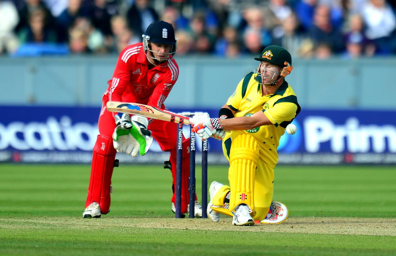 Australia's David Warner bats during the second NatWest International T20 at the Emirates Durham ICG, Durham.