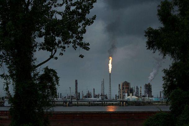 PHOTO: A gas flare from the Shell Chemical refinery is shown on August 21, 2019 in Norco, LA. The plant agreed to install $10 million in pollution monitoring and control equipment in 2018 to settle allegations flares were in violation of federal law. (Drew Angerer/Getty Images, FILE)