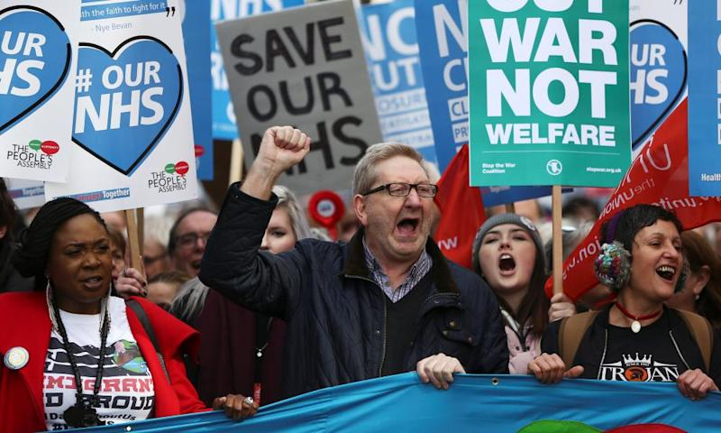 Unite union leader Len McCluskey in pro-NHS demo