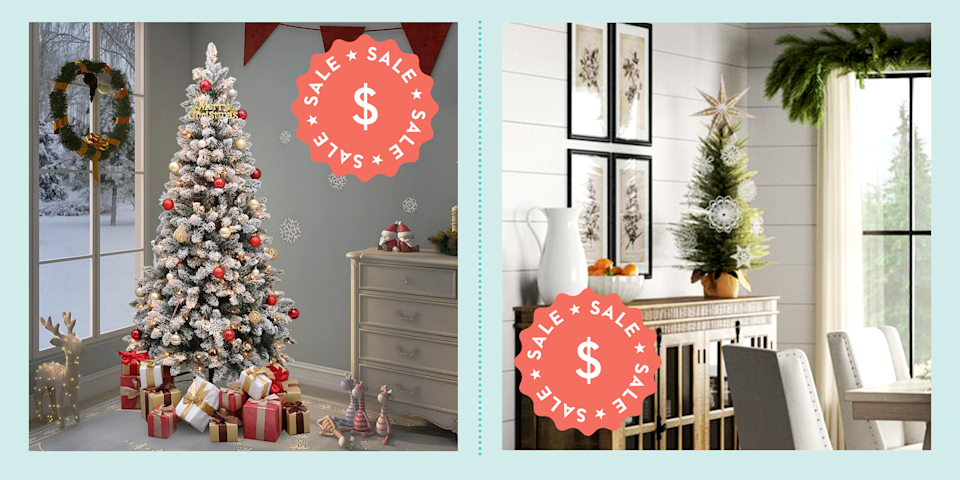 """<p>Break out the <a href=""""https://www.goodhousekeeping.com/holidays/christmas-ideas/g393/homemade-christmas-ornaments/"""" rel=""""nofollow noopener"""" target=""""_blank"""" data-ylk=""""slk:ornaments"""" class=""""link rapid-noclick-resp"""">ornaments</a> and boughs of holly: The holidays will be here before you know it. While you might have started to pull your <a href=""""https://www.goodhousekeeping.com/holidays/christmas-ideas/g29071878/best-christmas-decorations-to-buy/"""" rel=""""nofollow noopener"""" target=""""_blank"""" data-ylk=""""slk:favorite decorations"""" class=""""link rapid-noclick-resp"""">favorite decorations</a> out of storage, you still need to figure out what to do about your <a href=""""https://www.goodhousekeeping.com/holidays/christmas-ideas/g2707/decorated-christmas-trees/"""" rel=""""nofollow noopener"""" target=""""_blank"""" data-ylk=""""slk:Christmas tree"""" class=""""link rapid-noclick-resp"""">Christmas tree</a>. Normally, you'd pick out a fresh tree from your local vendor. But, this year, you might be hesitant to go anywhere with a crowd. (Plus, how does one sanitize a spruce of Douglas fir?) </p><p>But, just because you want to stay socially distanced doesn't mean you have to put any holiday cheer on the back burner. Fortunately, the Internet is filled with a bunch of artificial Christmas trees that look like the real deal. Best of all? A lot of them are currently on sale. To help you get the best value, we're sharing a few of our favorite deals below. 'Tis the season! <br></p>"""