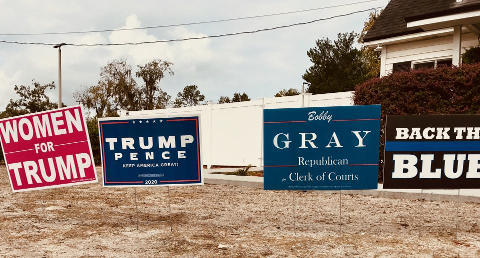 There lots of campaign signs in pro-Trump MacClennyAndrew Buncombe