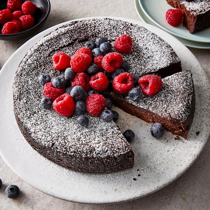 <p>This deeply dark chocolate vegan cake is not just for vegans. This fudge-like cake is also gluten-free, perfect for Valentine's Day and can even be made kosher to enjoy for Passover by making your own confectioners' sugar. The fresh berries on the side are a nice addition to the rich chocolate.</p>