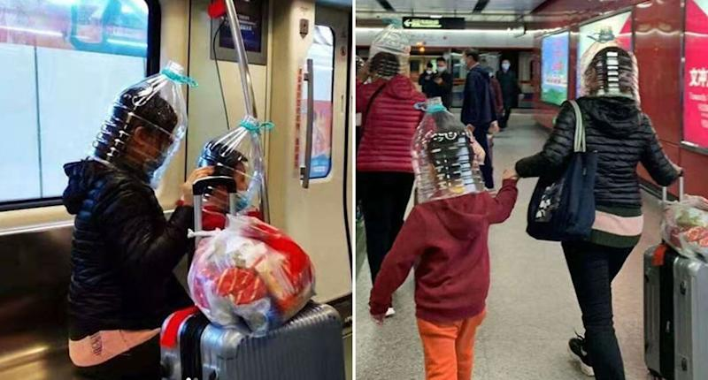 People are pictured with plastic bottles on their heads.