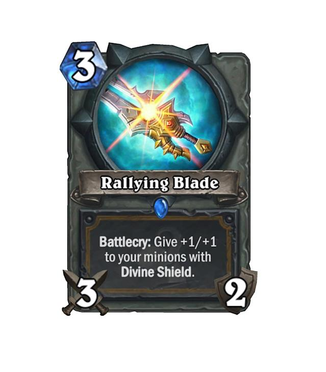 <p>When compared to the Warrior's Fiery War Axe, Rallying Blade doesn't exactly impress. But if you consider the amount of Divine Shield minions coming for Paladins, the Blade starts to look more impressive. </p>