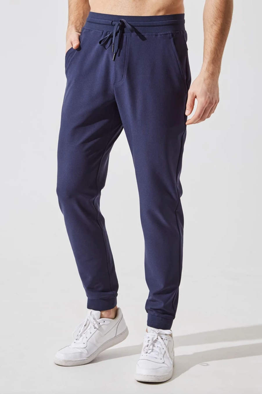 Gusto Recycled Polyester Everyday Jogger in Deep Navy (Photo via MPG)