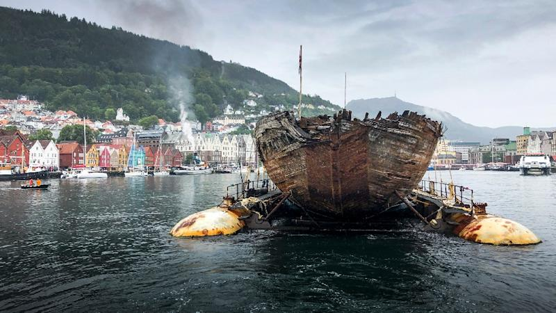 The Maud was towed across the North Atlantic on a barge after it left Greenland at the end of June