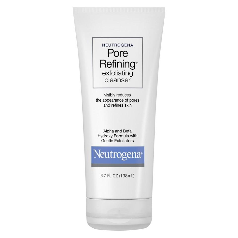 <p>The <span>Neutrogena Pore Refining Exfoliating Cleanser Face Wash</span> ($7) contains both alpha <em>and</em> beta hydroxy acids, which work simultaneously to help remove oil and dirt that sit deep in the pores. It gently exfoliates the skin, leaving the skin smooth and soft.</p>