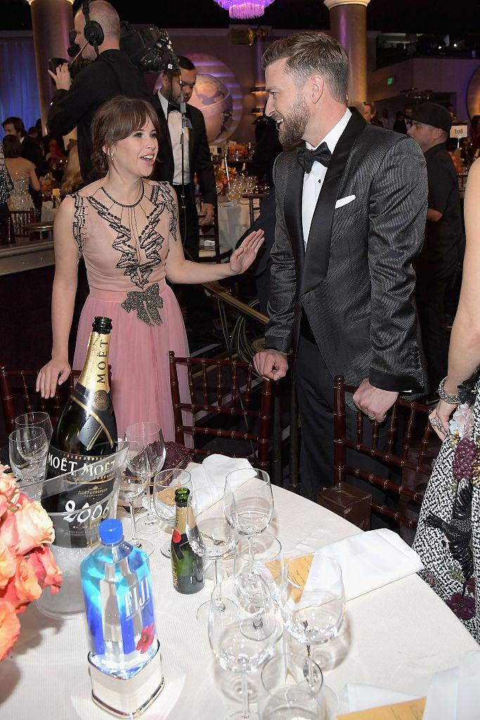 Clearly, Justin Timberlake was the belle of the ball. Here he is with Felicity Jones. (Photo: Getty Images)