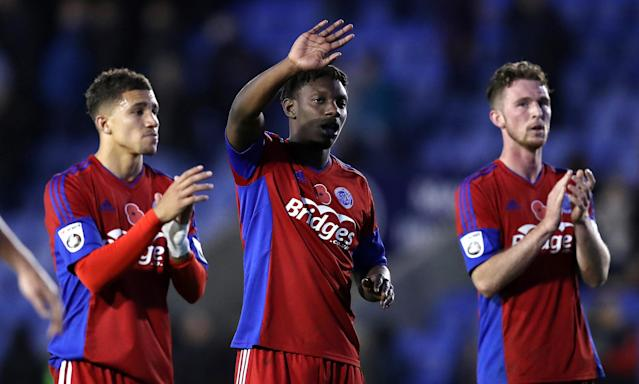 Soccer Football - FA Cup First Round - Shrewsbury Town vs Aldershot Town - New Meadow, Shrewsbury, Britain - November 4, 2017 Aldershot Town's Bernard Mensah waves to the crowd at the end of the game Action Images/John Clifton
