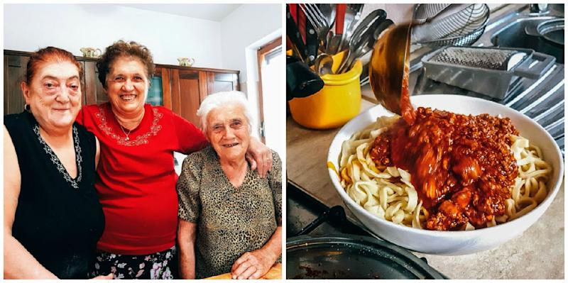 Left to right: Graziella, Franca and Elide get together in the kitchen to make their ragù (right).