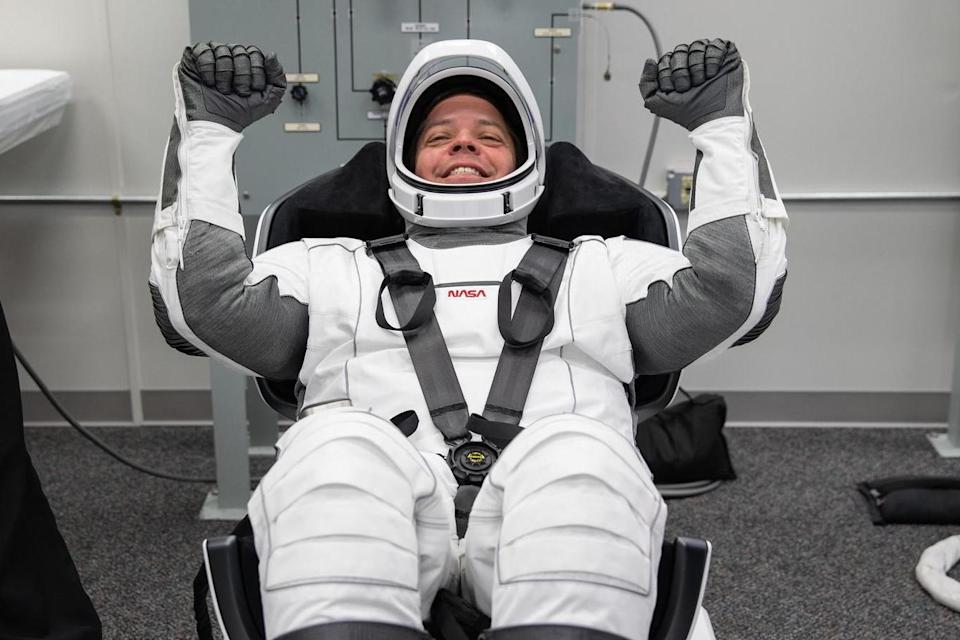 Bob Behnken in his custom smart spacesuit, designed to withstand a loss in air pressure (PA)